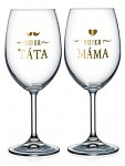 Dárkové párové sklenice na víno - 2x 440 ml - Super rodiče