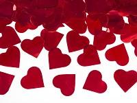 Vystřelovací konfety 60 cm - červená srdíčka