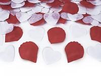 Vystřelovací konfety 50 cm - bílá srdíčka a červené plátky růží