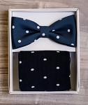 Set motýlek a ponožky - modrý s puntíky