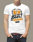 Rozlučkové tričko - pánské bílé - tým ženicha - beer - vel.S
