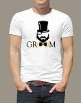 Rozlučkové tričko - pánské bílé - team groom -  vel.S