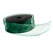 Stuha organza briliant drát 40 mm/9m - tm.zelená