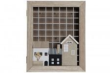 Dřevěná skříňka na klíče - domečky