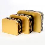 Dárková krabička - kufřík - černo - zlatá s peříčky - 20 cm