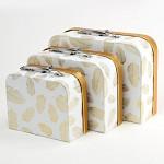 Dárková krabička - kufřík - bílo- zlatá s peříčky - 25 cm