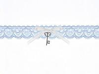 Podvazek modrý krajkový s klíčem