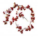 Girlanda podzimní drobné kvítky - červená - 150 cm