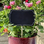Fotorekvizita - tabulky černé na špejli s rámečkem - 4 ks