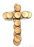 Kříž lepený vrbové plátky - 35 cm