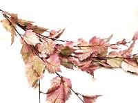 Podzimní větev břízy s listy - vínovo- zelená - 125 cm