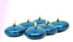 Plovoucí svíčka - metalická modrá - 6 ks