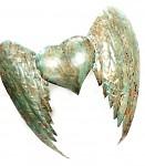 Plechová křídla antik mátová - 41 cm