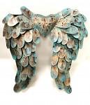 Plechová křídla antik nefritově zelená- 38 cm