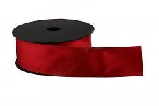 Stuha atlasová s drátem červená - 4 cm - 9 m