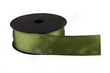 Stuha atlasová s drátem zelená - 4 cm - 9 m