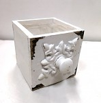 Dřevěný šuplík hranatý - vintage bílý - 15x15x15 cm