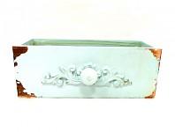 Dřevěný šuplík vintage mátový - 25x10x10 cm