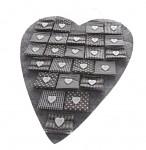 Adventní kalendář závěsné velké srdce - šedé