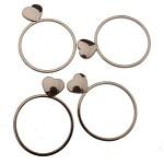 Kroužek na ubrousky - stříbrné se srdíčky - 4 ks