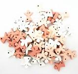 Dřevění andílci mini - růžovo - bílý mix  - 12ks