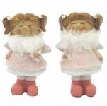 Andělka s culíky a kožíškem - malá - růžová