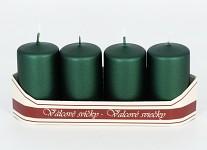 Adventní svíce - smaragdově zelené metalické