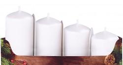 Adventní svíce - postupné - bílé metalické matné