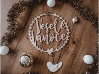 Dřevěný věneček - Veselé Vánoce - 15 cm