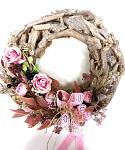 Věnec podzimní zdobený stříhaná sláma -  25 cm
