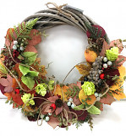 Věnec podzimní zdobený - 30 cm