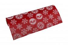 Vánoční role - imitace juty - červená s jeleny - 28 cm/150 cm