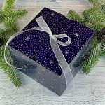 Krabička vánoční hranatá velká - modrá s vločkami a stuhou
