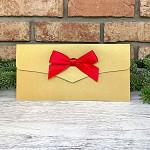 Obálka na peníze LUX - zlatá s červenou stuhou