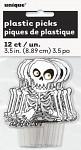 Dekorační zápich do cupcake - Halloweenská kostra - 12 ks