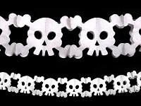 Halloweenská girlanda - lebky bílé - 3 m