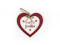 Dřevěné srdce k zavěšení - My věříme na Ježíška
