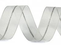 Stuha stahovací monofilová s lurexem  26mm / 5m - šedá