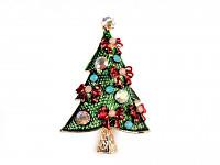 Vánoční brož stromeček - zelený