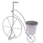 Kovové kolo - stojan na květináč  - sv. šedé - malé