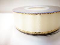 Stuha saténová zlatý lem - krémová - 25 mm