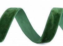 Sametová stuha - zelená - 15 mm/1 m