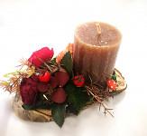 Svícen aranže podzimní - březový oválek
