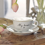 Porcelánový šálek s podšálkem 210 ml - Ahoj krásko!