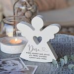 Anděl dřevěný srdcový 125 mm - pro dceru