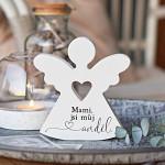 Anděl dřevěný srdcový 125 mm - mami, jsi anděl
