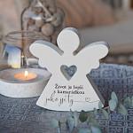 Anděl dřevěný srdcový 125 mm - pro kamarádku
