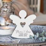 Anděl dřevěný srdcový 125 mm - máma a dcera