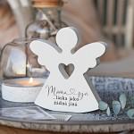 Anděl dřevěný srdcový 125 mm - máma a syn