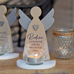 Anděl svícen latté 17 cm - Rodina